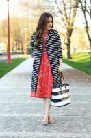 Inspiring Ways to Wear Spring Prints, stripe jacket, floral dress
