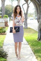 Inspiring Ways to Wear Spring Prints, striped skirt and floral top