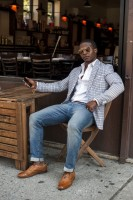 Sporty Styling Sport Coats, print sport coat and jeans cuffed