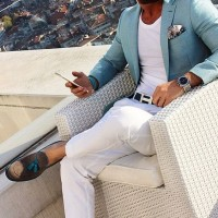 Sporty Styling Sport Coat, spring green sport coat with white t-shirt pants