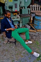 Sporty Styling Sport Coat, navy sport coat, blue shirt, green pants and sneakers