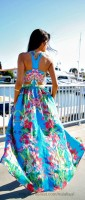 Spring Colors Brighten Looks, turquoise floral maxi dress