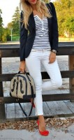Spring's Stylish Updates, women's white jeans striped top navy blazer