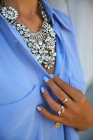 spring accessories, stackable rings and statement necklace