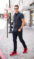 Stylish Yet Sporty Men's Fashion, men's dark denim and short sleeve chambray shirt