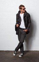 Stylish Yet Sporty Men's Fashion, men's gray pants jacket white tee