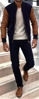 men's sporty style navy pants and leather sleeve bomber jacket