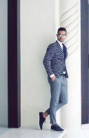 Stylish Yet Sporty Men's Fashion, men's striped blazer, chambray pants