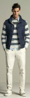 Stylish Yet Sporty Men's Fashion, men's striped sweater and chambry vest 2