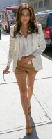 Flattering Shorts Body Type, Eva Longoria camel shorts long blazer white blouse