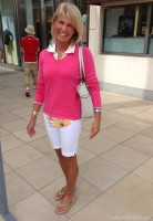 Flattering Shorts Body Type, bermuda shorts in white with pink sweater and print blouse