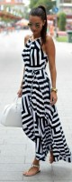 Nauti Nautical Style, black and white striped maxi dress