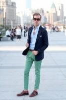 Top 5 Men's Summer Shoes, men's green pants, navy blazer and monk straps