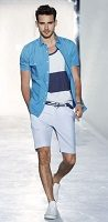 men's light gray shorts and blue short sleeve button down 200