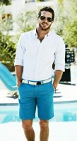 men's turquoise shorts and white button down