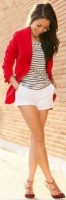 Flattering Shorts Body Type, petite womens white shorts and red blazer