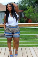 Flattering Shorts Body Type, plus size print shorts and white blouse