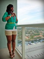 Flattering Shorts Body Type, plus size shorts with green cardigan