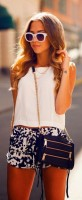 Flattering Shorts Body Type, slim build print shorts and white top