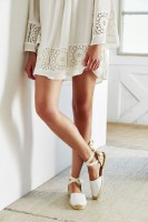 Espadrilles Summer 2016 Shoe, white lace dress with tie ankle espadrilles