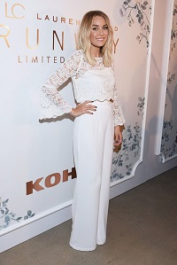 Stylish New Looks Beat Heat, Lauren Conrad cream bell sleeve lace crop top and wide leg trousers