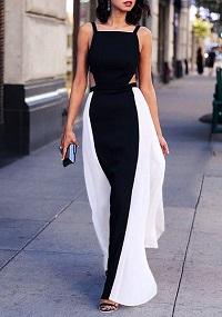 Stylish New Looks Beat Heat, black and white cutout maxi dress