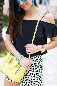 Stylish New Looks Beat Heat, black cold shoulder top, polka dot dress shorts, yellow purse