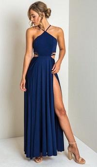 Stylish New Looks Beat Heat, blue cut-out maxi dress