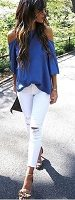 blue off the shoulder top and white distressed ankle length denim
