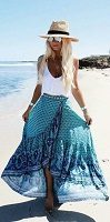 blue print maxi skirt and white tank top with fedora