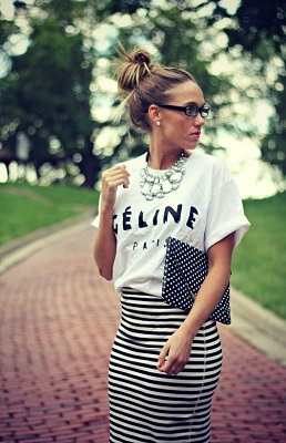 celine graphic tshirt, statement crystal necklace, striped skirt 400