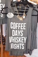 gray graphic tank top coffee days whiskey nights