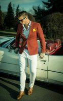 6 must haves men's summer style, men's white pants, orange blazer and tassel loafers