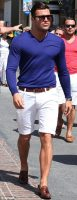 6 must haves men's summer style, men's white shorts, loafers and blue sweater