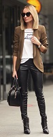 tauper blazer, graphic tshirt, black leather leggings
