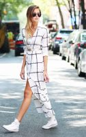 white and black plaid maxi dress with belt and coverse high tops