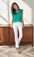 white striped pants and green flutter tank top