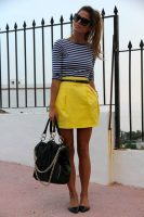 yellow bubble skirt with striped top and flats