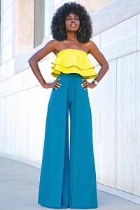 Stylish New Looks Beat Heat, yellow ruffle crop top blue wide leg pants