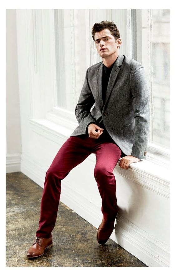 How to Dress for a Night on the Town, men's brick red pants, gray blazer with black shirt
