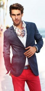 How to Dress for a Night on the Town, men's red trousers and dark chambray blazer