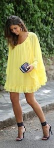 Labor Day Style...Miami look, flowy chiffon yellow sundress and black sandals-compressed