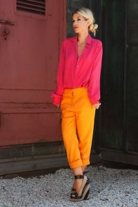 Labor Day Style...Napa Sonoma outfit, orange pants, red blouse and striped wedges