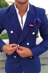 Men's blue pinstripe double breasted suit