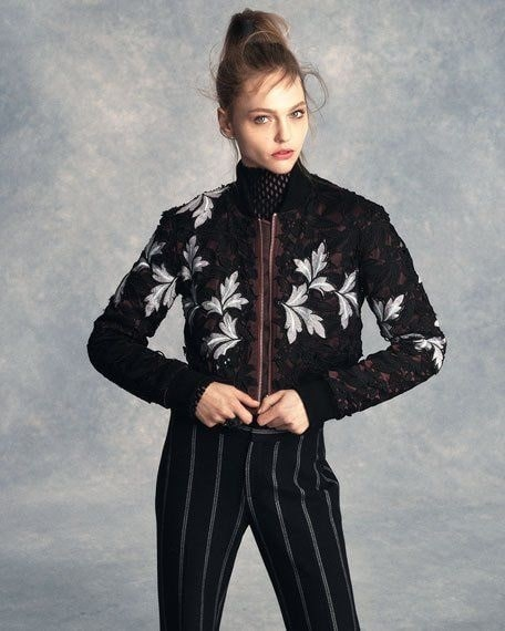 Transition to Fall Fashion, Self Portrait floral lace bomber jacket with pants