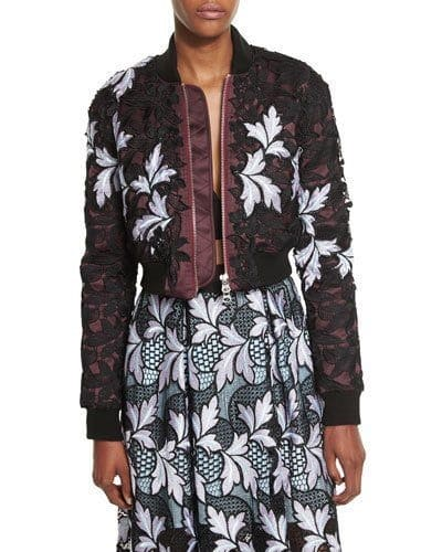 Transition to Fall Fashion, Self Portrait floral lace bomber jacket with sundress