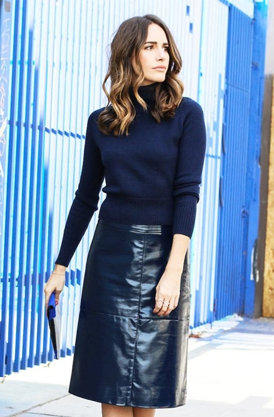 Transition to Fall Fashion, navy leather midi skirt