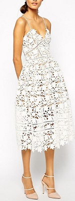 diner en blanc attire, white lace midi dress