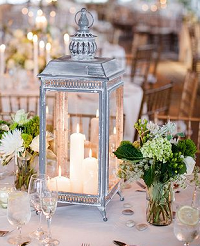 diner en blanc table decor, white lantern 200