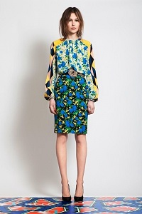 intermixing prints for the office, large print blouse with small print blue, yellow, black skirt 200 x 300